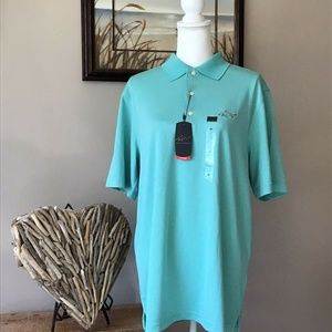Greg Norman Men's Play Dry Teal Polo Top